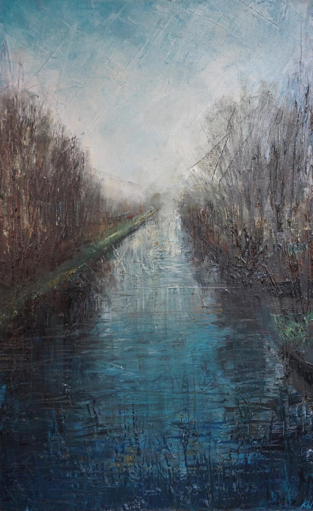 SOLD. Almost Spring? River Waveney, Geldeston. Oil on Canvas. 50:80cm. 2017 Landscape painting painter Norwich commissions