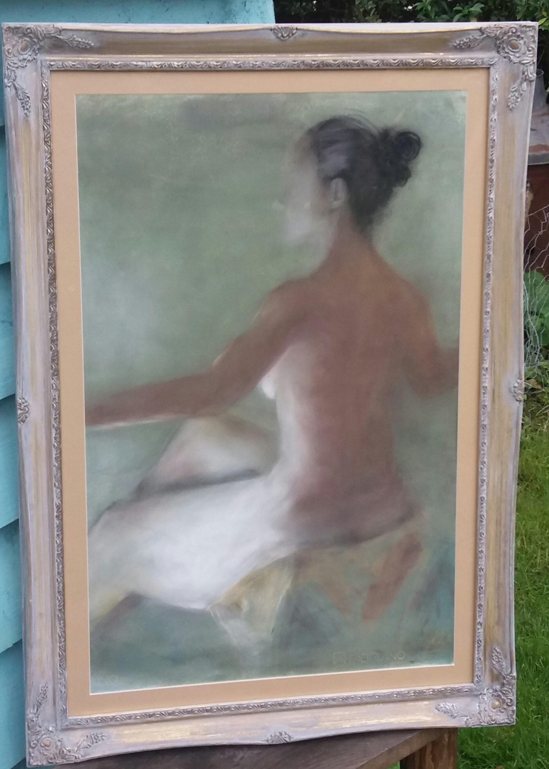 Coloured Charcoal on Oil Ground, Back Study
