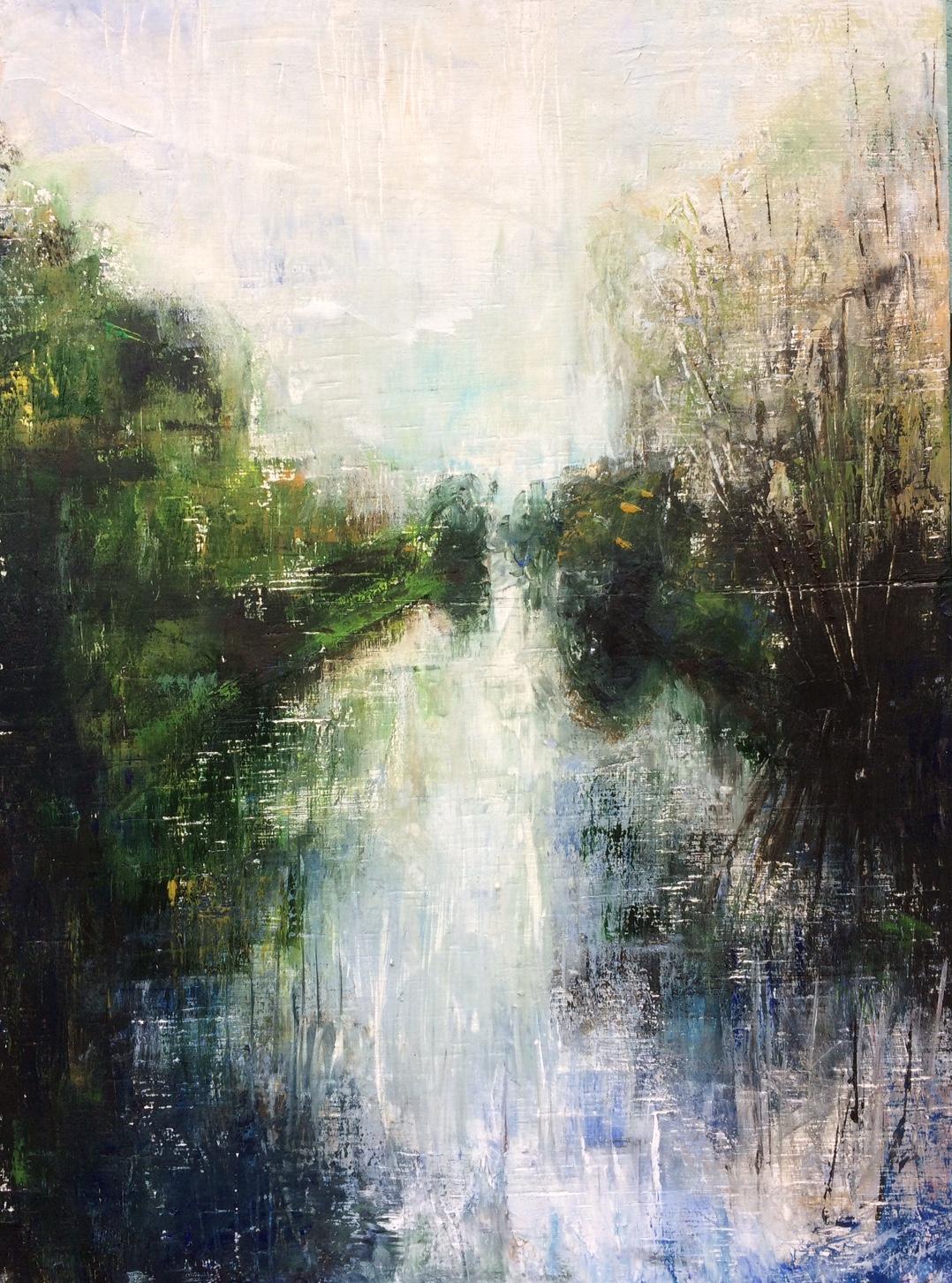 Cold Today. Acyrlic on wood. 30/40cm. 2017 Landscape painting Waveney Beccles Landscape artist commission