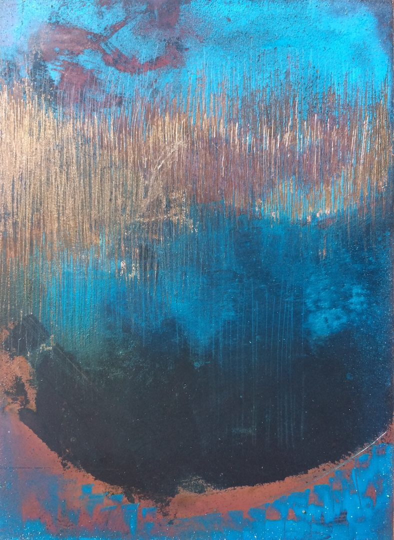 Copper Landscape 1. Oil and Patina on Copper. 7.5/10cm. 2018 Abstract landscape Norwich Artist