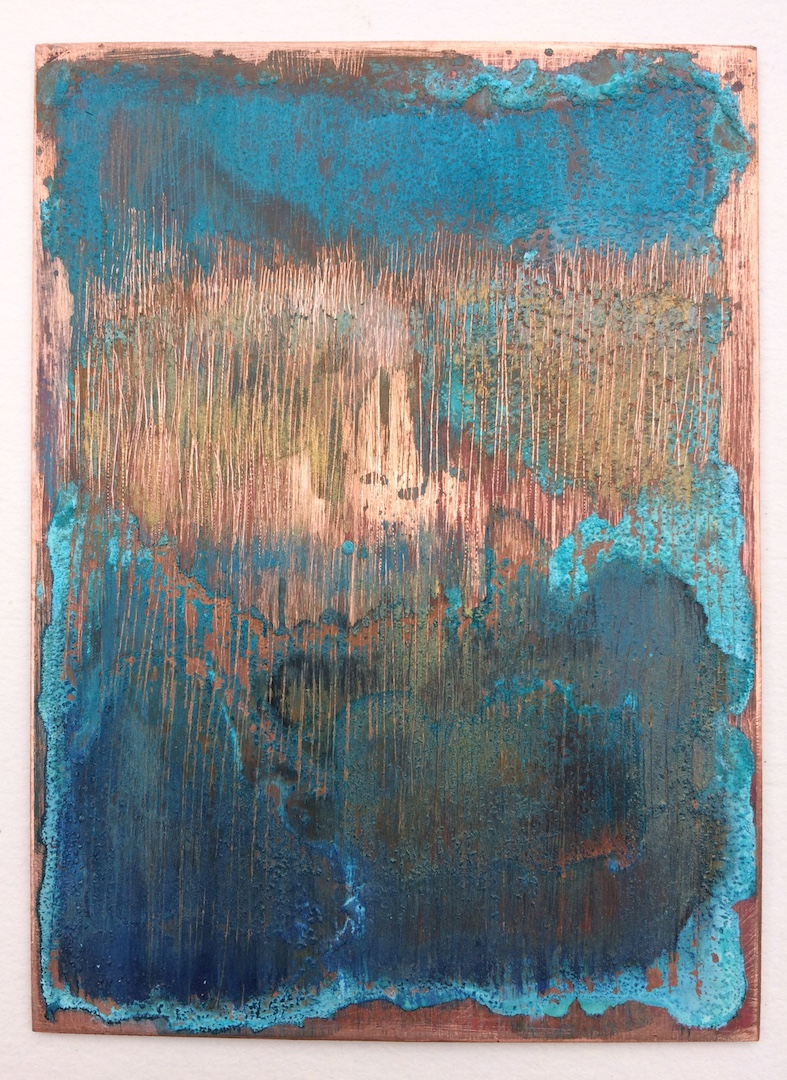 Copper landscape 3. Oil and Patina on Copper. 7.5/10cm. 2018