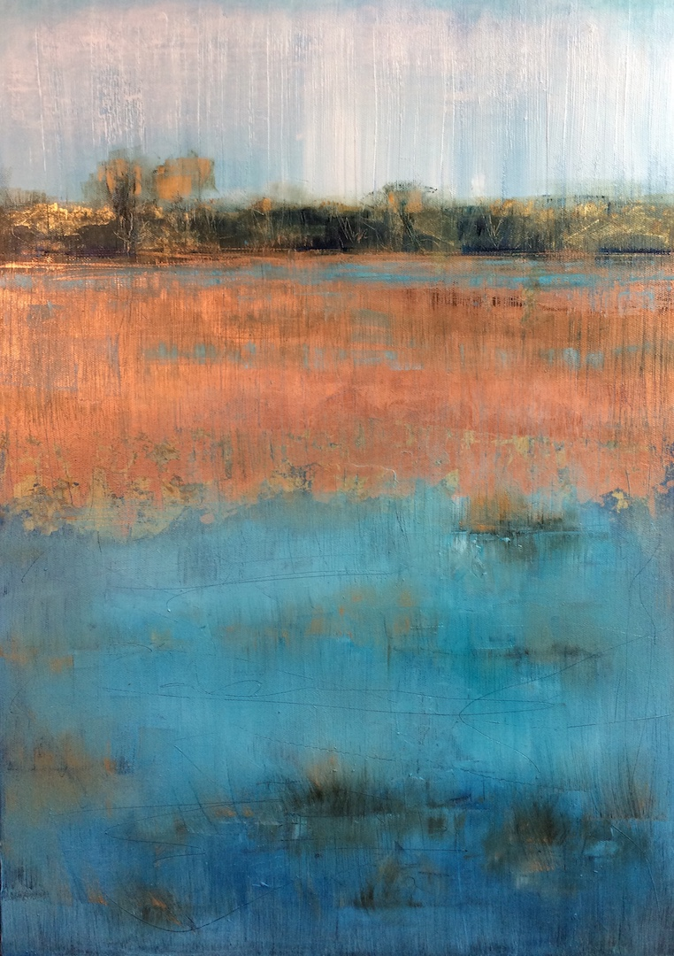 Copper leaf landscape. 50:70 cm. Oil on Linen. 2018. Landscape art painter painting Beccles Norwich