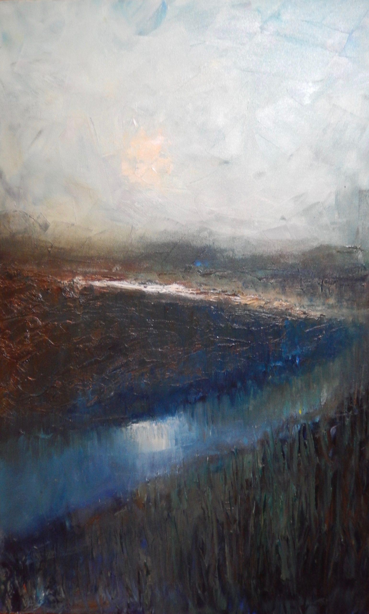 Hazy Sunshine. Oil on Canvas. Oil Landscape. Waveney Valley Artist. Geldeston.