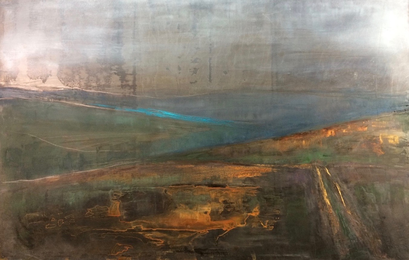 Moors Landscape. Oil and Patina on Steel. 40/50cm. 2018