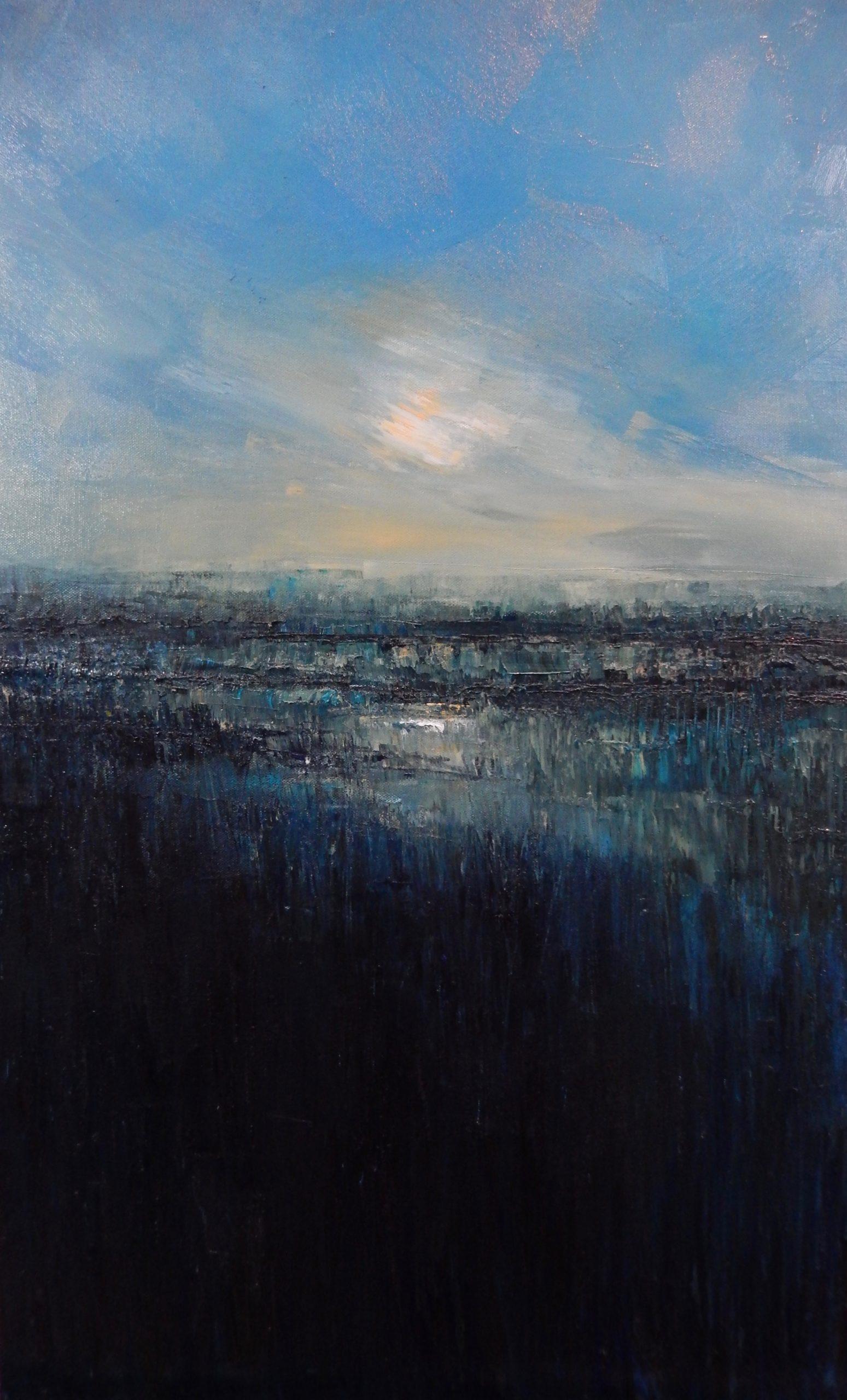 Flooded Marsh. Oil on Canvas. 50/80cm. Geldeston. Oil Landscape, Beccles Art.