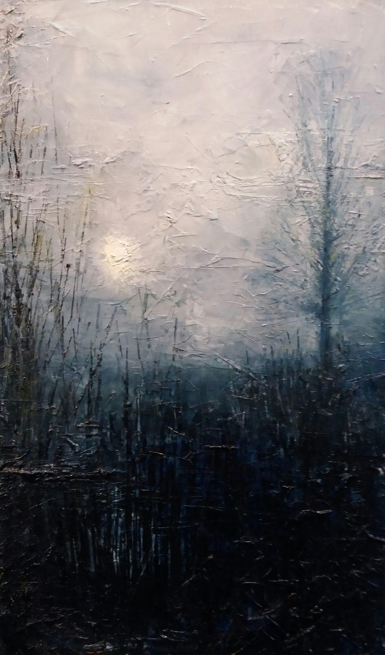 Morning Fog, Geldeston. Oil on Canvas. oil landscape painting, Norfolk.