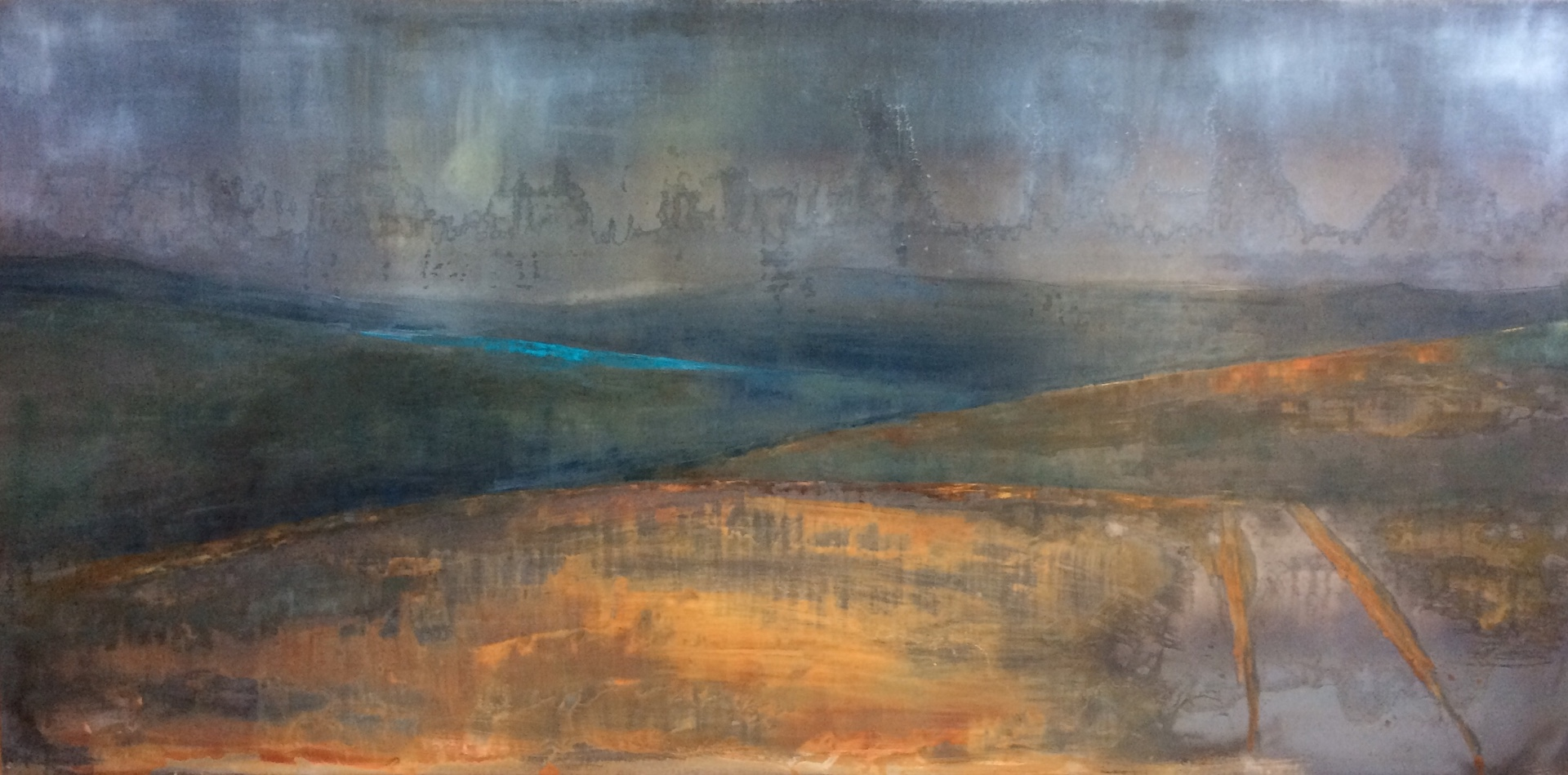 Gloomy Sky Palace. Oil and Patina on Steel. 1m/2m. 2018. Landscape painting Contemporary oil landscape painting