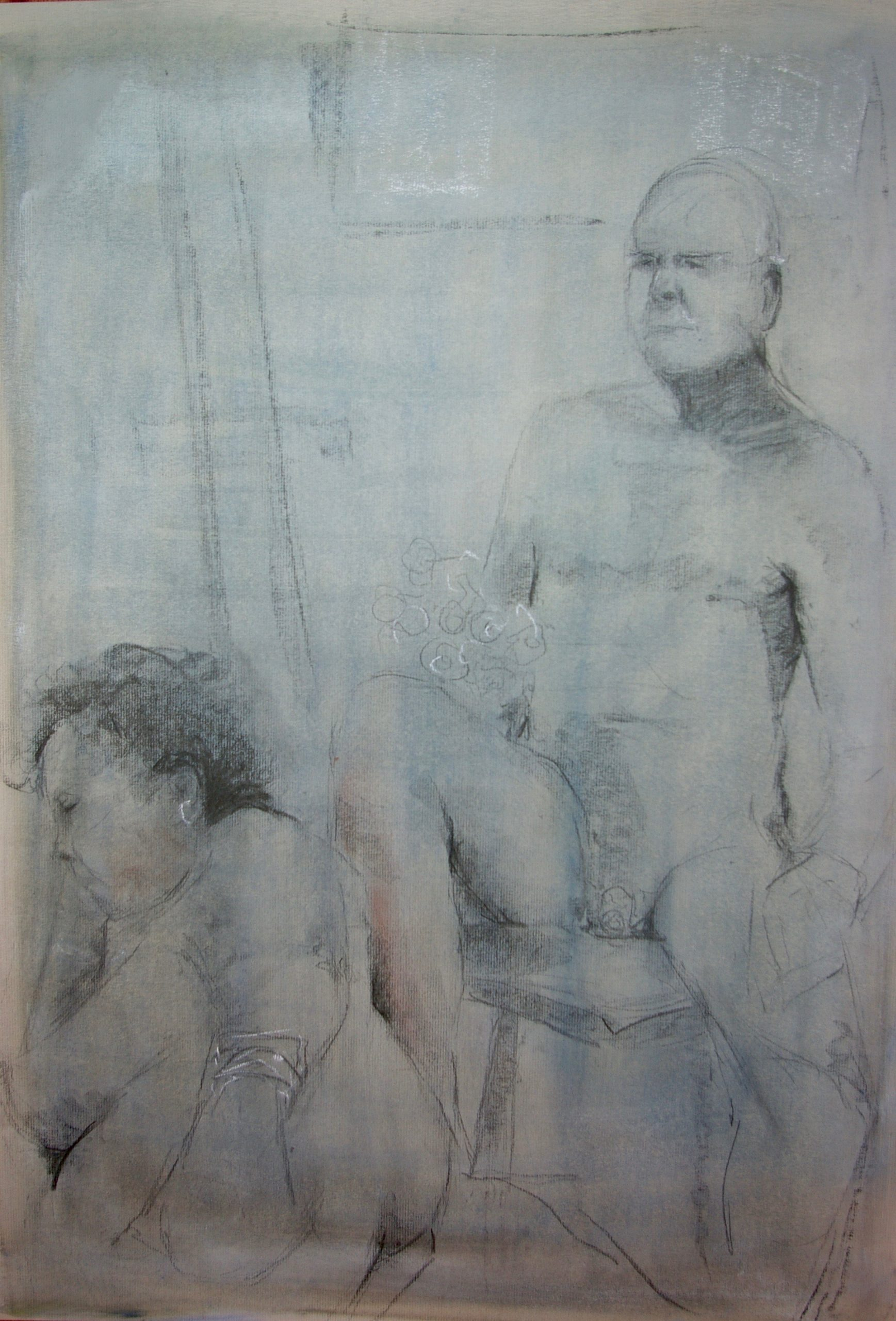 Narrative Nudes. Charcoal on Oil Ground. Life Drawings