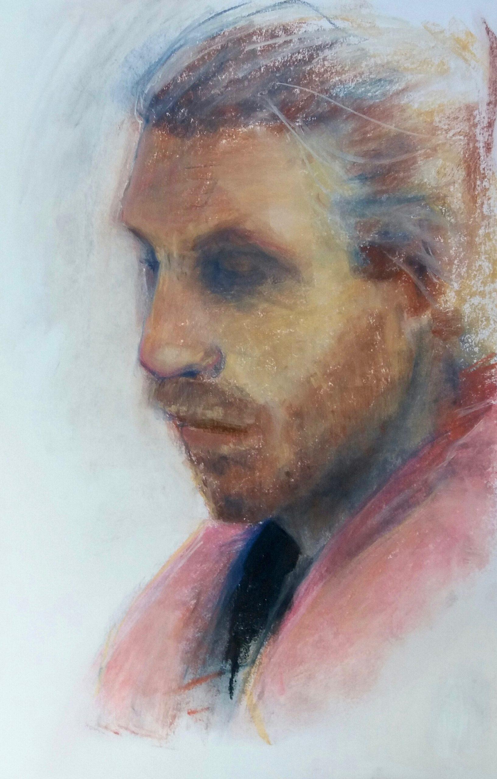 Pastel portrait on paper. Norwich life drawing. Anteros Art Foundation