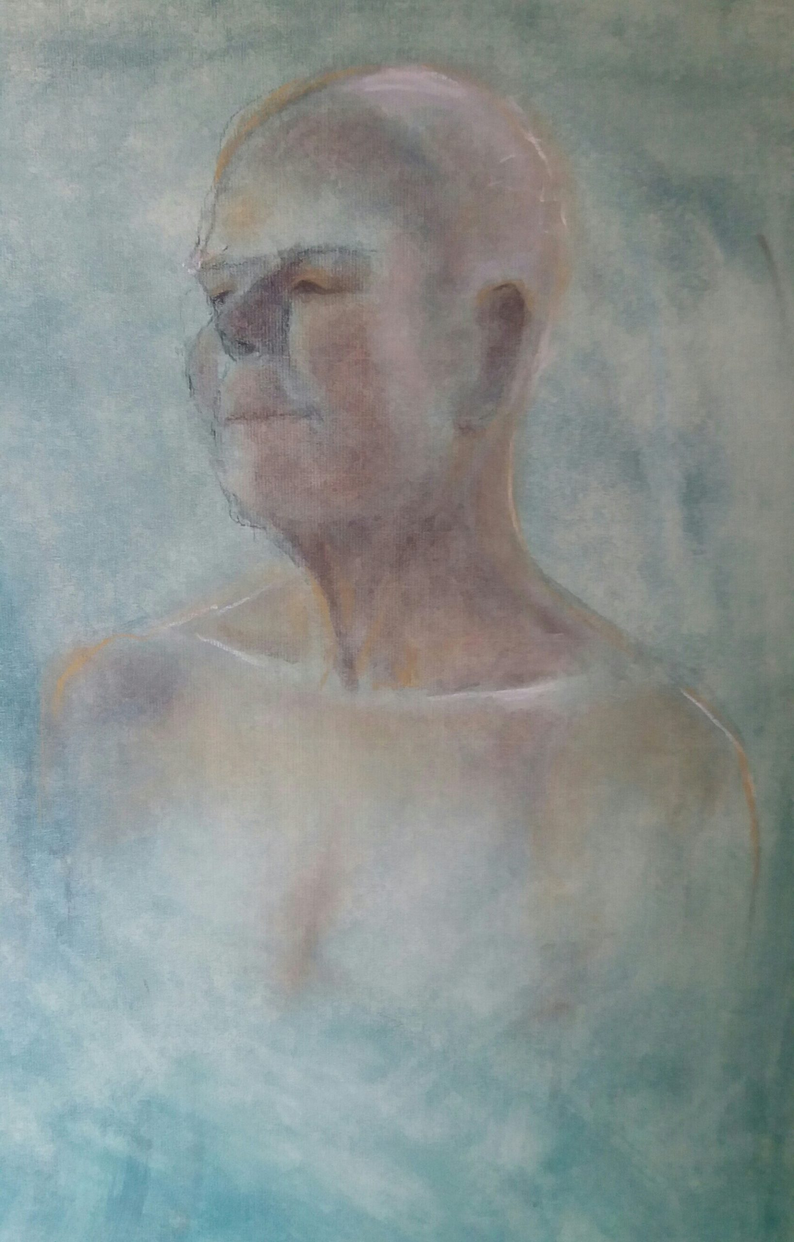 John. Coloured Charcoal on Oil Ground.Life Drawing, Norwich.