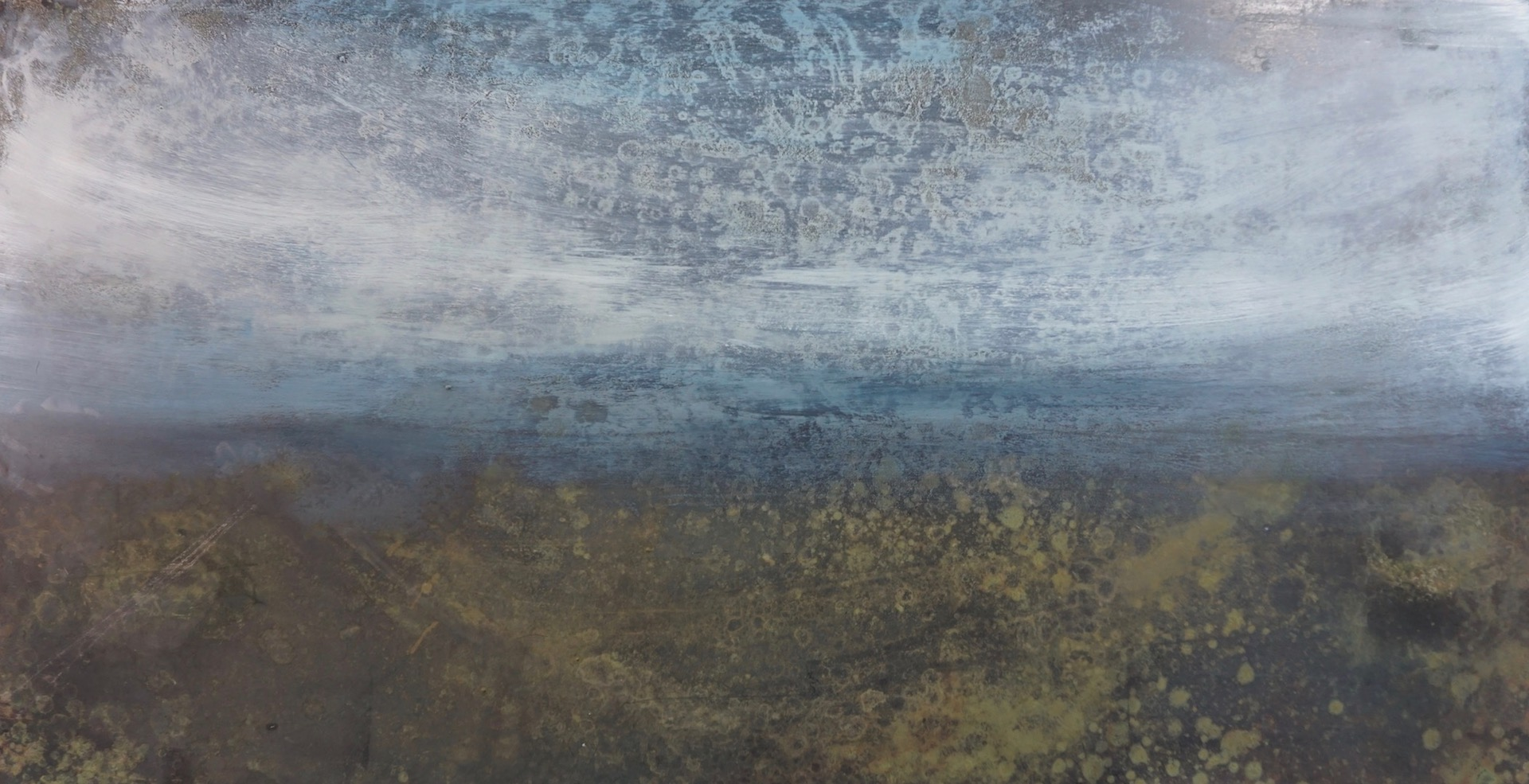 Waterlogged. Oil and Patina on Steel. 40/70cm. 2018 Landscape painting Moors