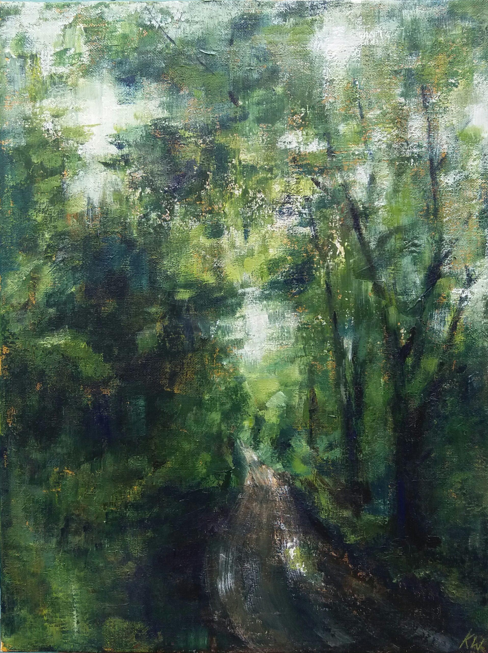 MInsmere Woods. Acrylic on Board. 30/40cm. Landscape painting. Artist Norfolk Suffolk Beccles Waveney