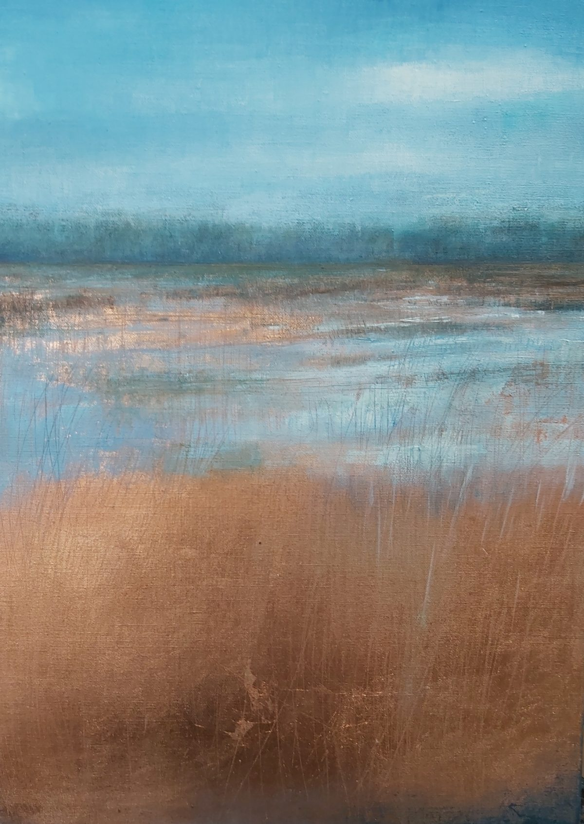 Marsh Flood. Oil on Linen. 50/70cm. 2020. Norfolk Broads Art Artist Landscape Painting
