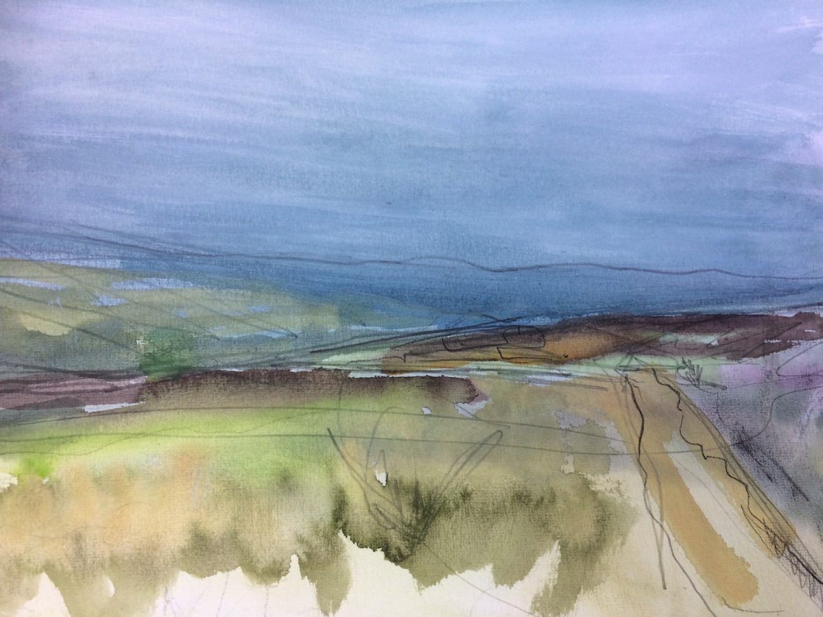 'North York Moors' Watercolour and Graphite on Paper. 30/40cm 2018 landscape contemporary landscape painting
