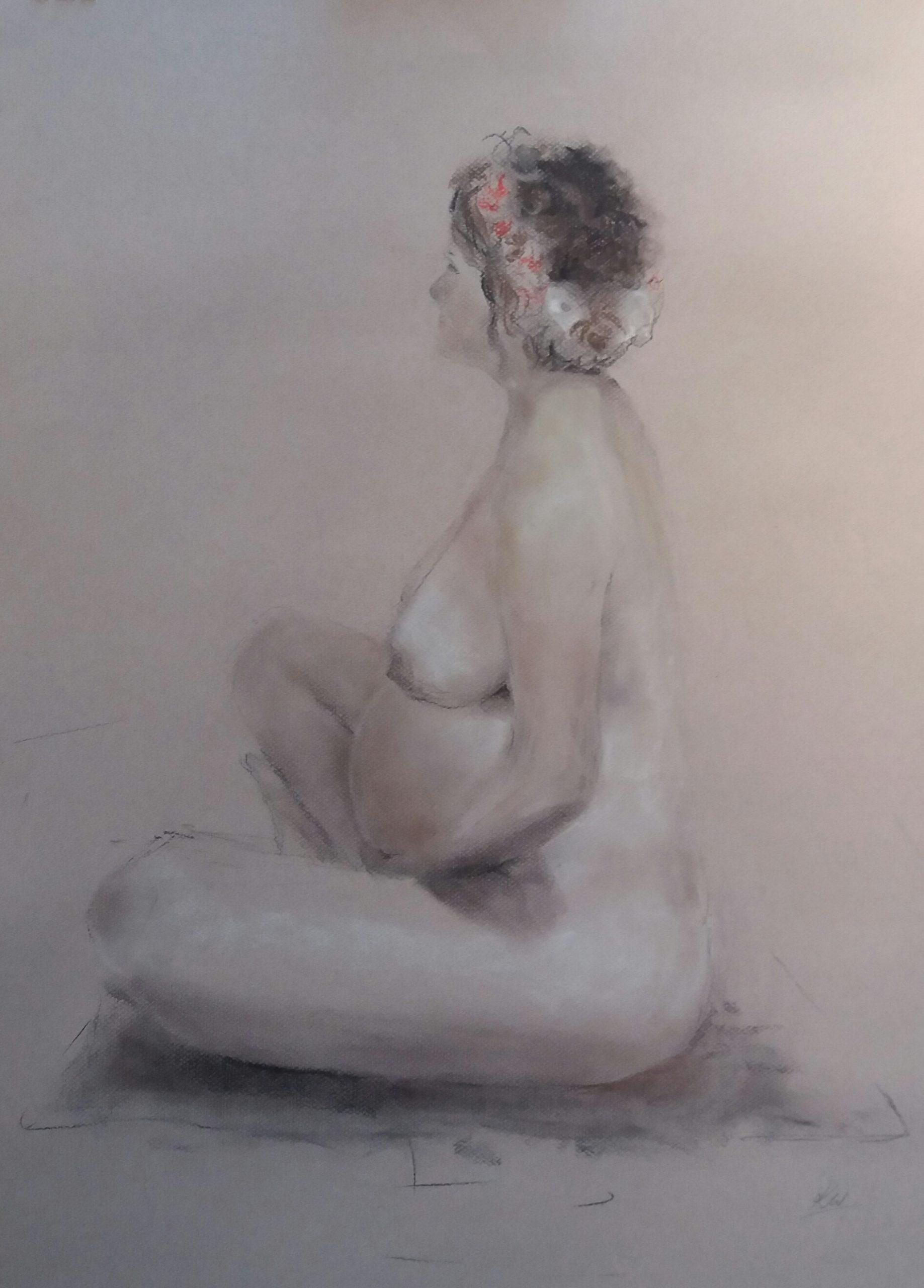 Pregnancy portraiture. Charcoal