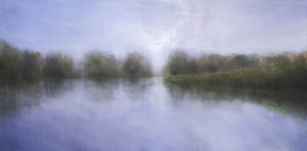 Summer on the Waveney. Oil and copper leaf on Linen. 2m x 1m. 2019. Landscape painting Norfolk Fine artist Beccles