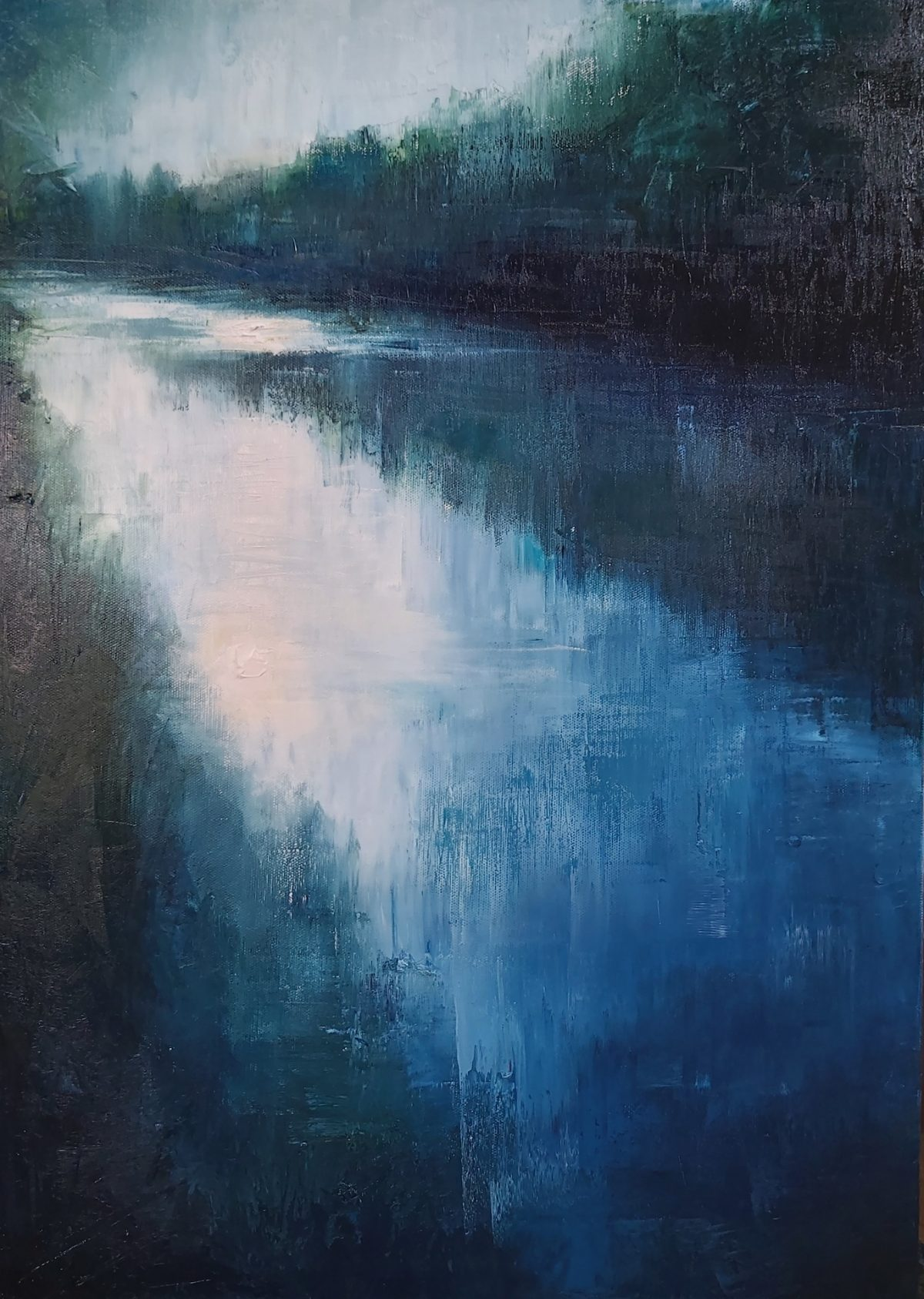 The River. 50/70cm. Oil on Linen. 2020. Landscape painting Norfolk Broads