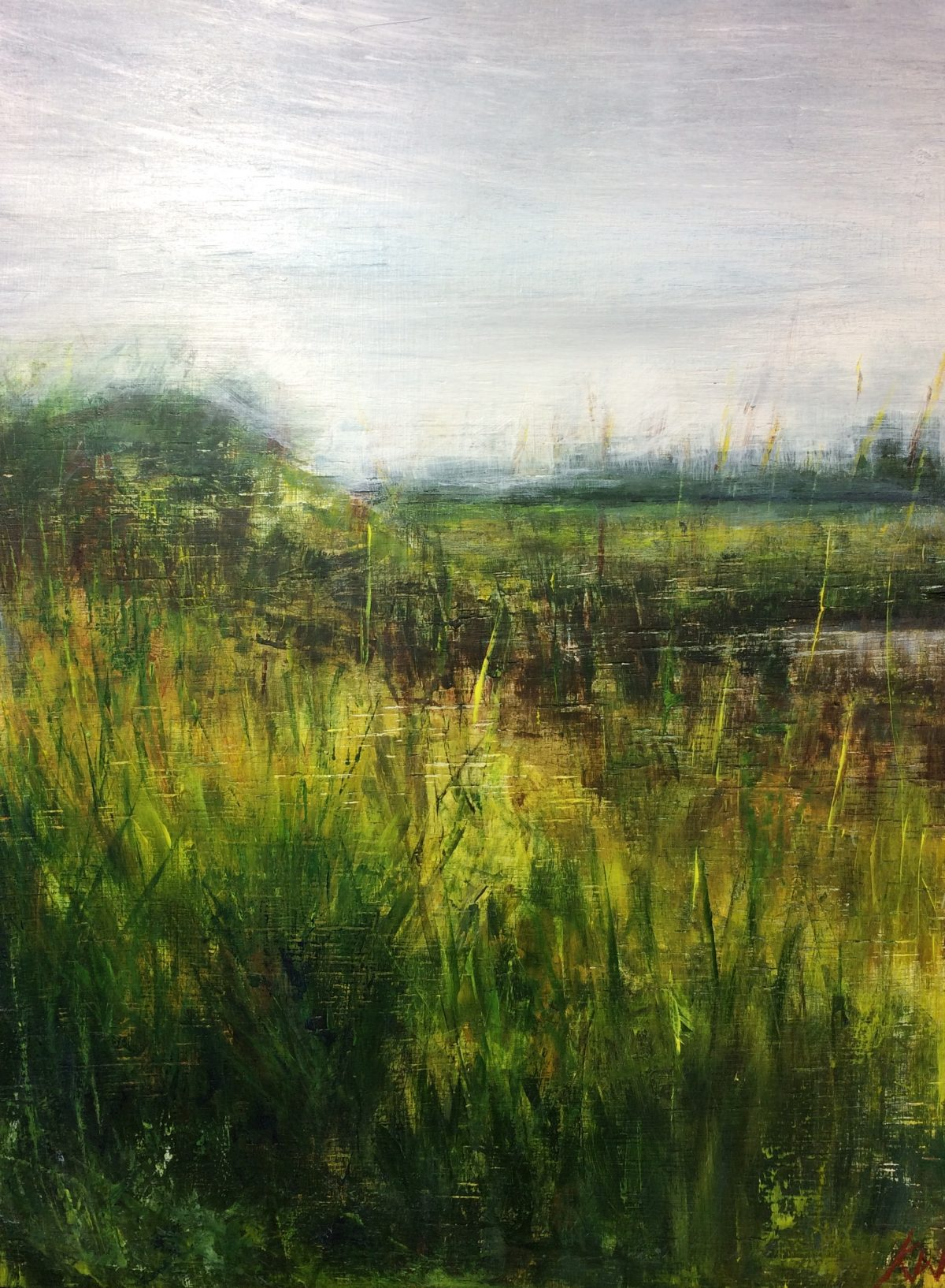 Windy Walberswick. Acrylic on Wood. 30/40cm. 2017. Landscape Artist Beccles Geldeston