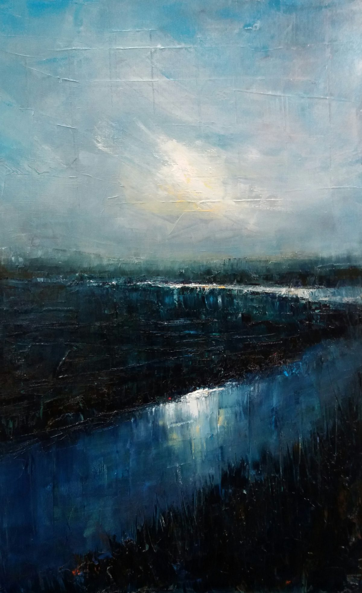 Winter Marshes. Oil on Canvas. 50/80cm. Oil Landscape painting, Geldeston. Waveney Valley. Beccles painter Artist