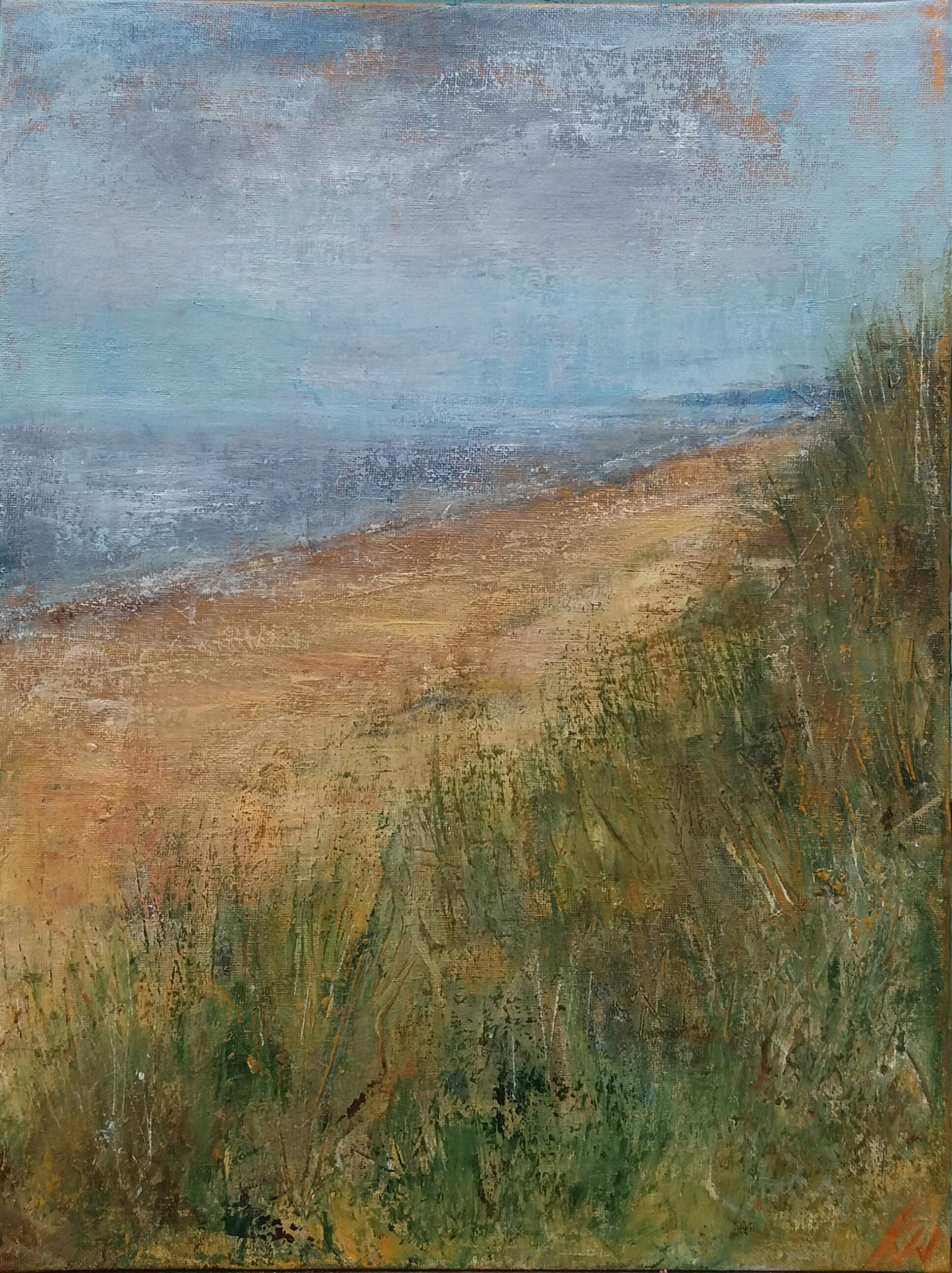 Winterton, Norfolk.  Acrylic on Board.  30/40cm. Landscape painting. Beccles, Geldeston artist