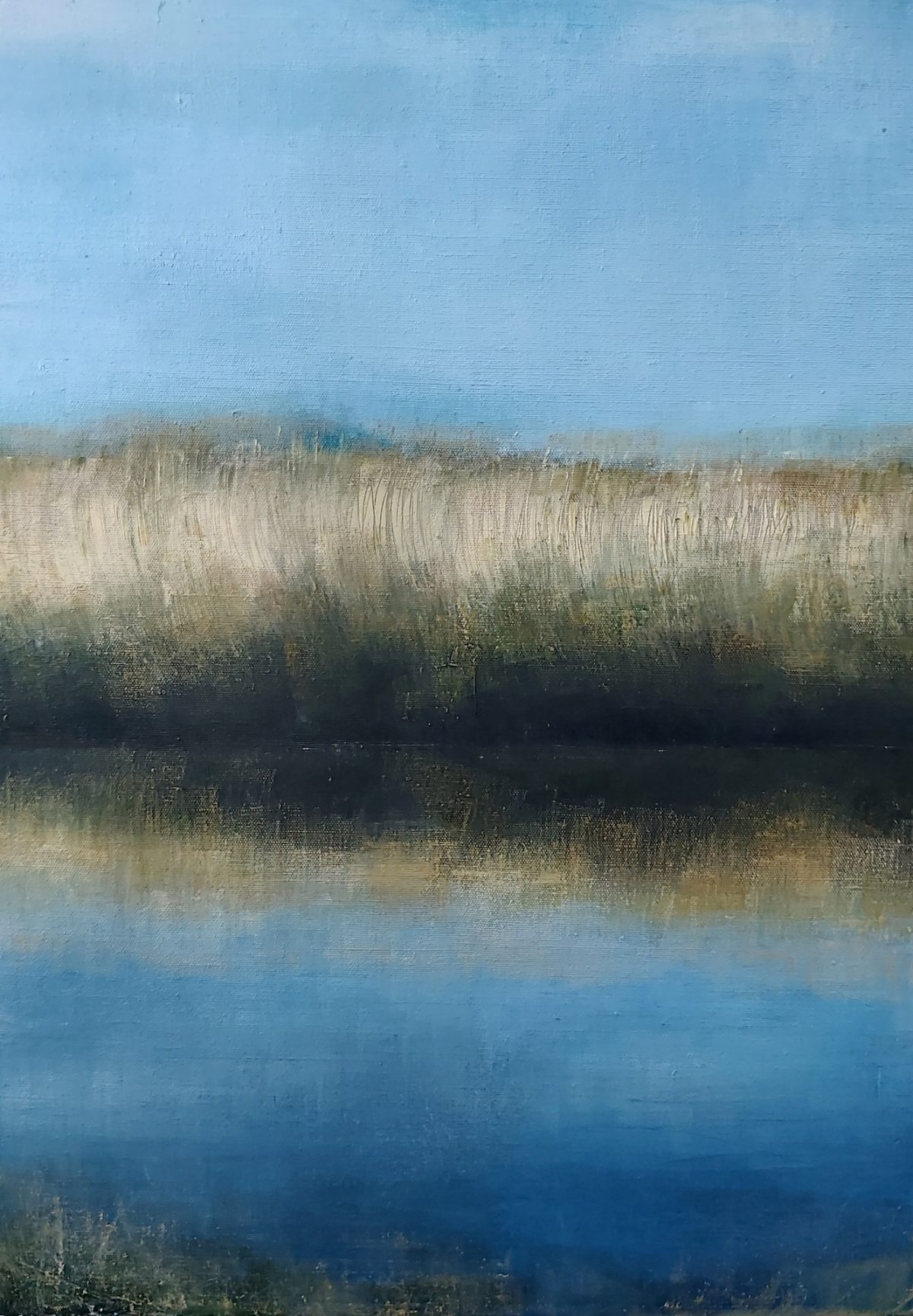 The Line. Oil on Linen. 50/70cm. 2020. Artist Norfolk Broads