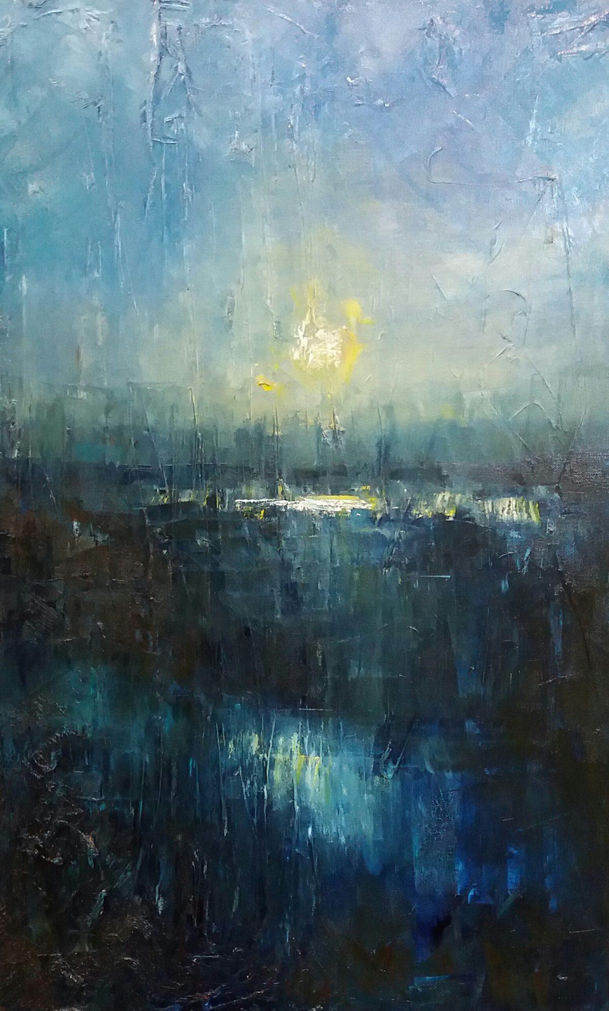 Abstract marsh. Oil on Canvas. 5080cm. Geldeston Landscape Painting. Waveney Valley. Artist.