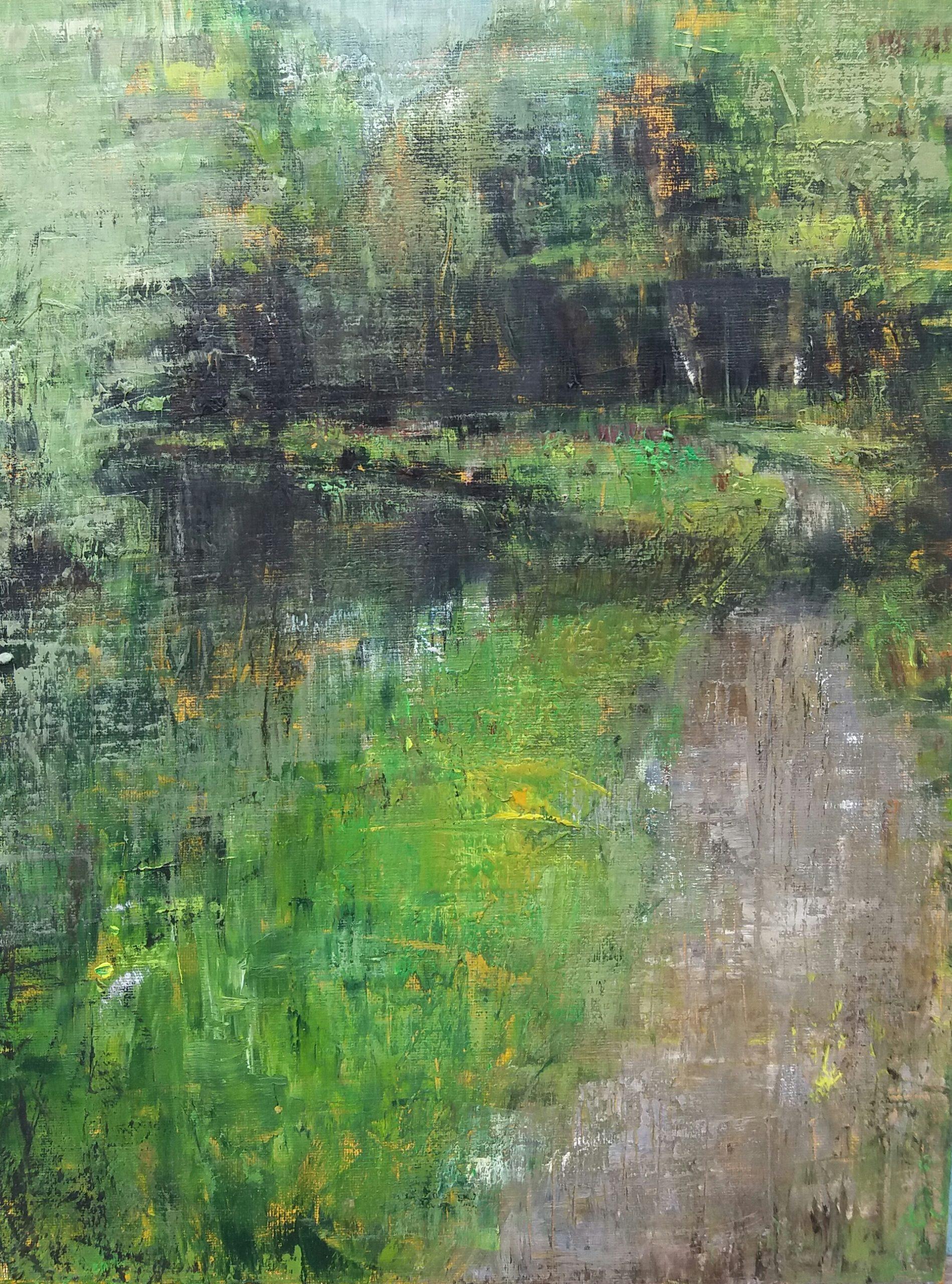 Fairhaven Water Garden Oil sketch on board. 30/40cm