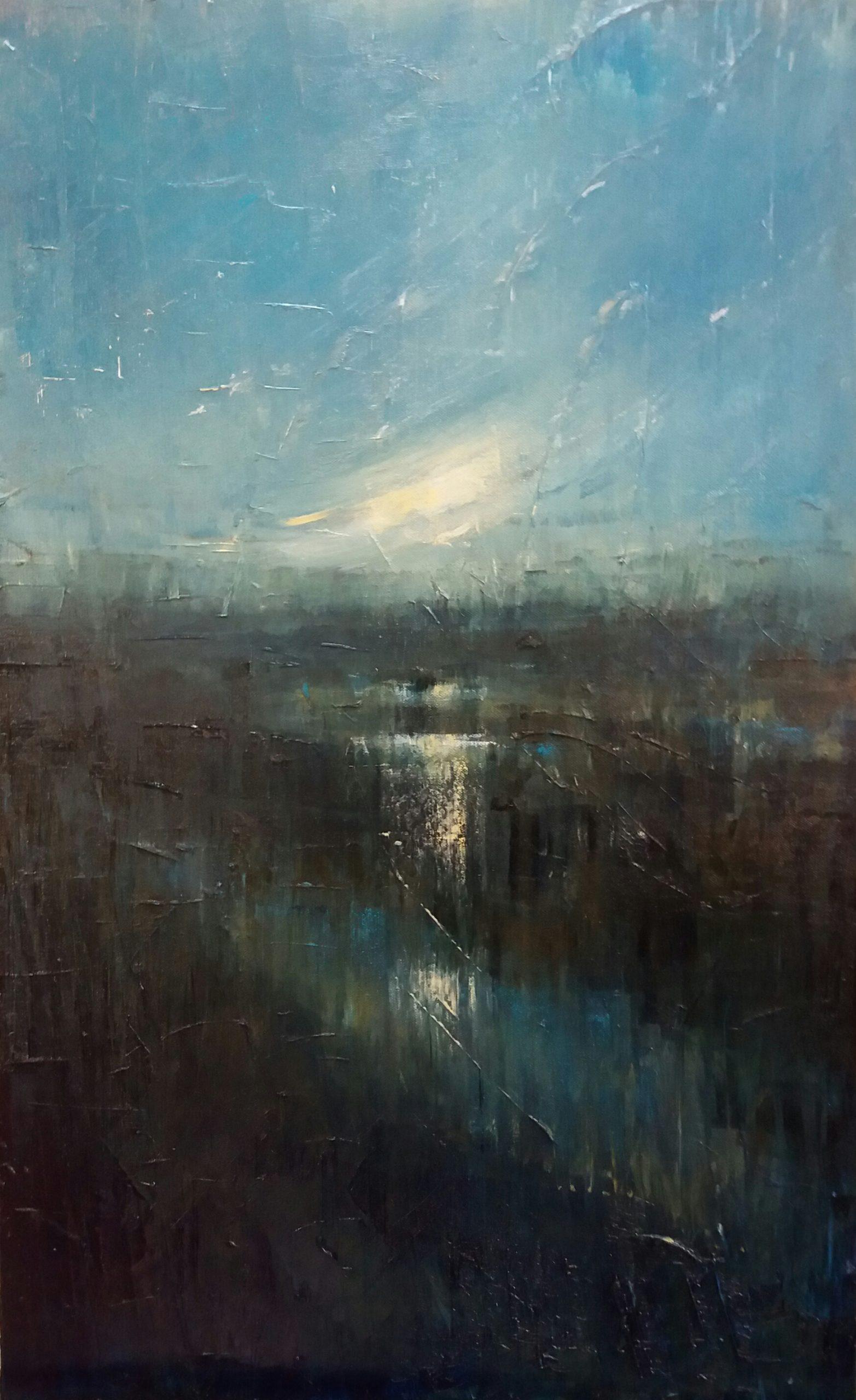 Sunset Over the Marsh. Oil on Canvas. 50/80cm. oil painting. Landscape painting. Geldeston, waveney Valley