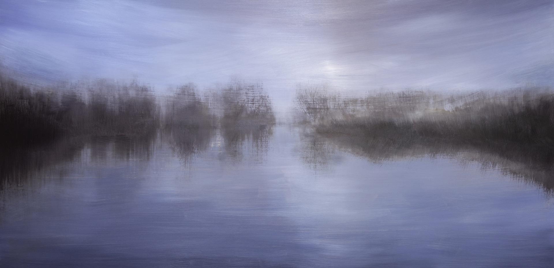 'Winter on the Waveney' Oil on Aluminium. 2m x 1m. 2019 Landscape painting Norfolk